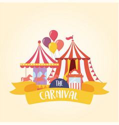 Fun fair carnival carousel tent and ticket booth vector