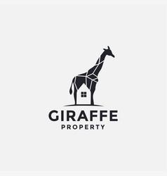 giraffe and home logo icon template vector image