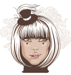 Girl bit her lip an actress in a small hat vector