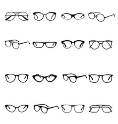glasses icon set medical and optical protection vector image