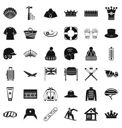 Glove icons set simple style vector