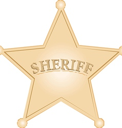 Golden Sheriff Star over white background vector
