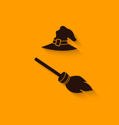 Halloween Witch hat and broom vector