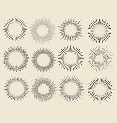 hand drawn vintage sunburst set vector image