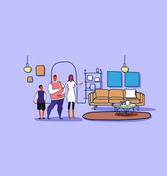 happy family husband wife and son standing vector image