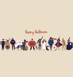 happy halloween flat banner template vector image