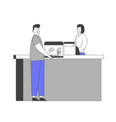 Happy male character stand at counter desk in pet vector