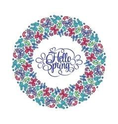 hello spring lettering round frame butterflies vector image