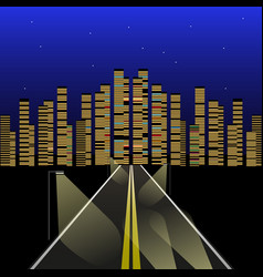highway to the night city vector image