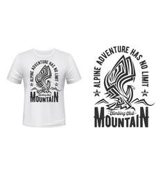 hiking sport club t-shirt print mountain eagle vector image