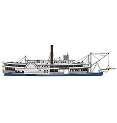 Historical paddle steamboat vector