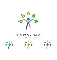 Human character logo sign health care logo sign vector