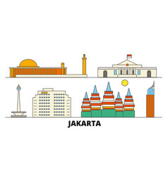 Indonesia jakarta flat landmarks vector