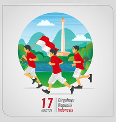 Indonesian independence greetings card with kids vector