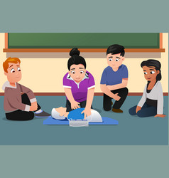 Instructor demonstrating cpr to students vector
