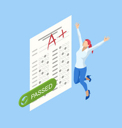 Isometric exam sheet with a plus grade flat vector