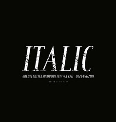 italic narrow serif font in antique style vector image