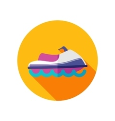 Jet Ski flat icon with long shadow vector