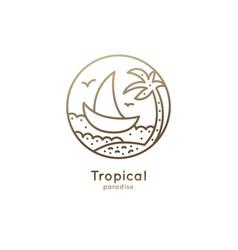 Logo boat in tropics vector