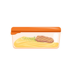 Lunch box with mashed potatoes and grilled meat vector