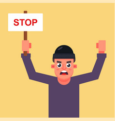 Male protester with a poster vector