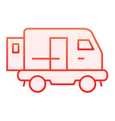 Minibus flat icon transport red icons in trendy vector