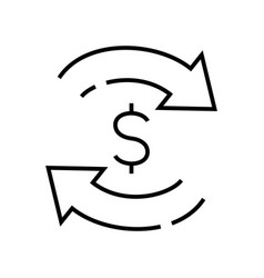 Monetary exchange line icon concept sign outline vector