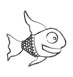 Monochrome sketch of fish with long fins vector