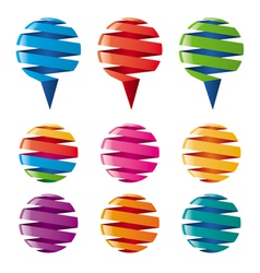 Multicolored balloons twisted ribbons vector
