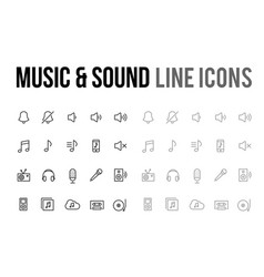 music amp sound line icon for app mobile vector image