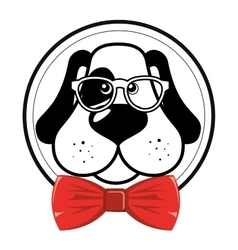 Nice hipster dog glasses bow vector
