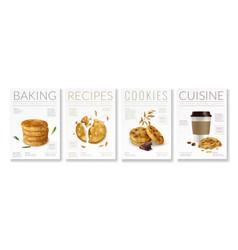 Oat cookies poster set vector