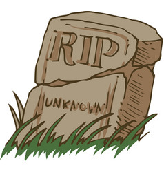 Old gravestone and grass vector