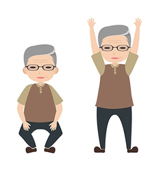 Old people exercise vector image