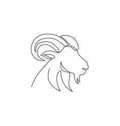 one single line drawing funny cute goat head vector image
