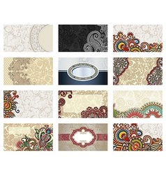 ornate floral business card vector image