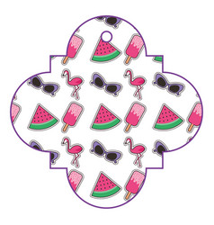 Pattern shape badge with cute patches fantansy vector