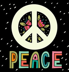 Peace sign with hand lettering flowers and vector