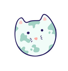 planet - cat head japanese style kawaii vector image