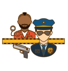 Police arresting offender icon image vector