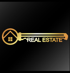real estate golden key unique design vector image
