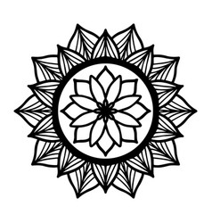 Round black mandala on white isolated background vector