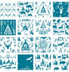 seamless pattern with outdoors activity travel vector image