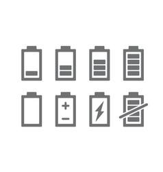 set battery indicators icon charge level vector image
