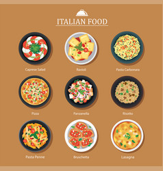 set italian food flat design vector image