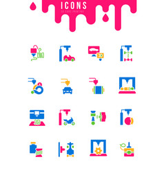 Set simple icons 3d cars printing vector