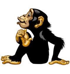 Sitting cartoon chimp side view vector