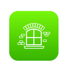 small window frame icon green vector image