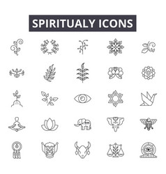 Spiritual line icons for web and mobile design vector