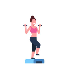 Sporty woman holding dumbbells doing squats on vector